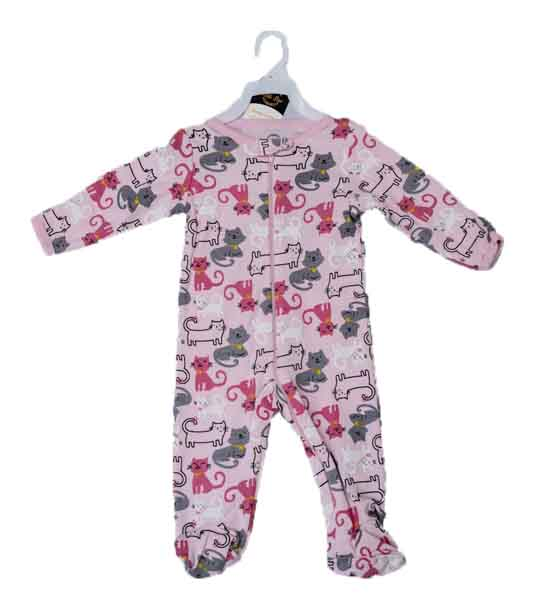 Mom Needs Baby Romper with Towel & Socks(Pink Cat)