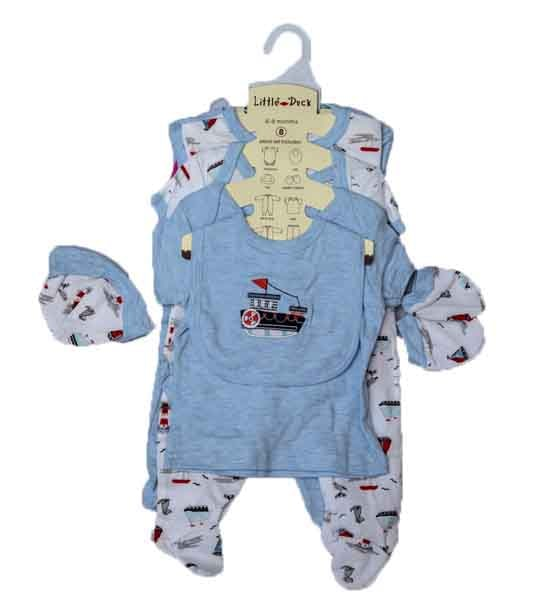NB BABY CLOTHES-8PCS LITE BLUE