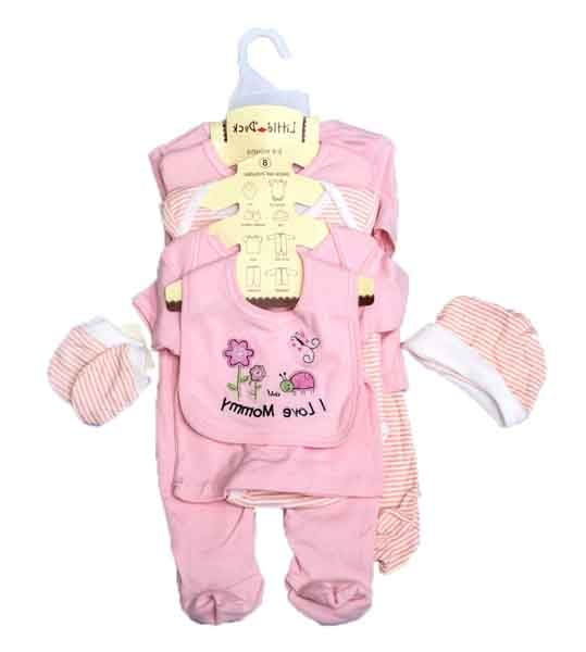 NB BABY CLOTHES-8PCS PINK
