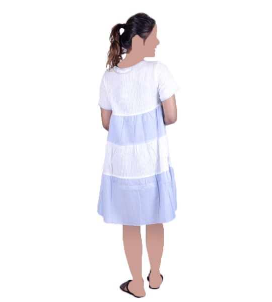 WOMAN GOWN P WHITE&BLUE(M)