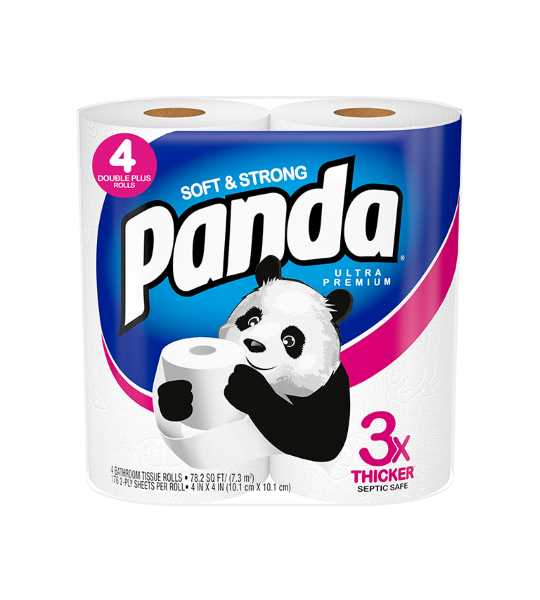 panda delux toilet paper blue 130gm 3ply 4 roll